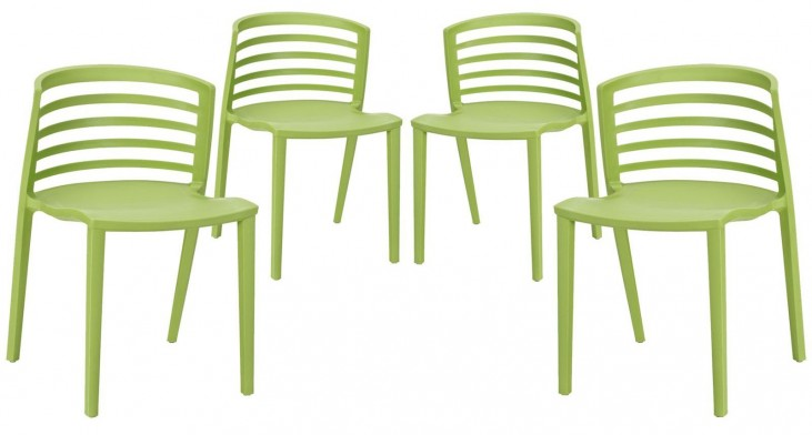 Curvy Green Dining Chairs Set of 4