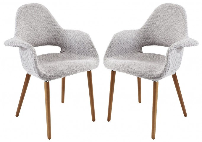 Taupe Light Gray Dining Armchair Set of 2