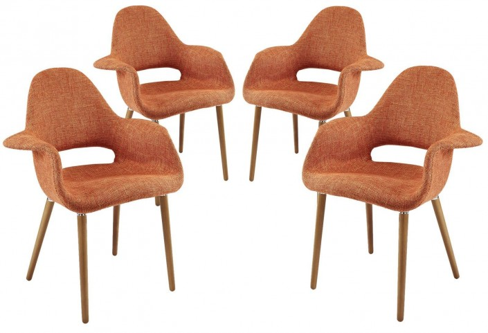 Taupe Orange Dining Armchair Set of 4