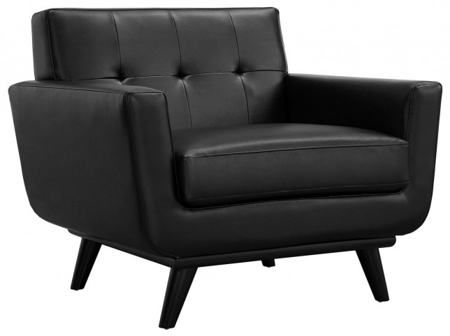 Engage Black Leather Armchair