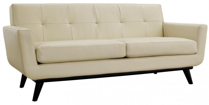 Engage Beige Leather Loveseat