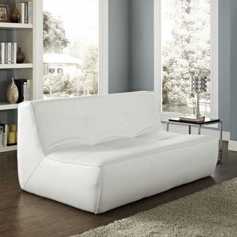 Align White Leather Loveseat