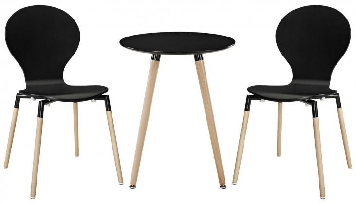 Path Black Dining Chairs and Table Set of 3