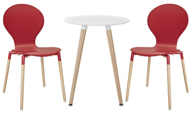 Path Red Dining Chairs and Table Set of 3