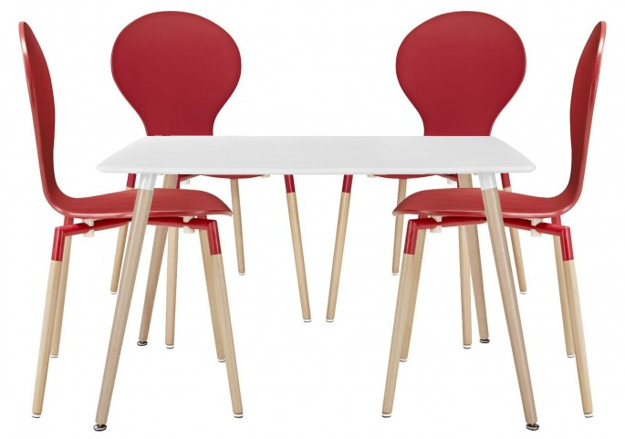 Path Red Dining Chairs and Table Set of 5