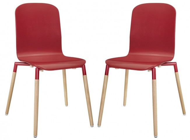 Stack Red Wood Dining Chairs Set of 2