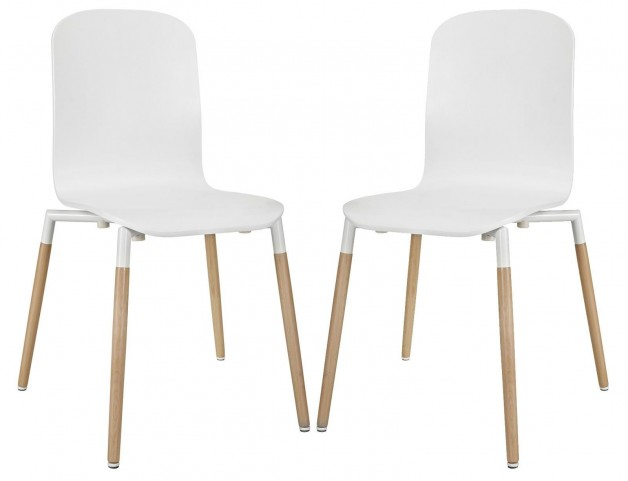Stack White Wood Dining Chairs Set of 2