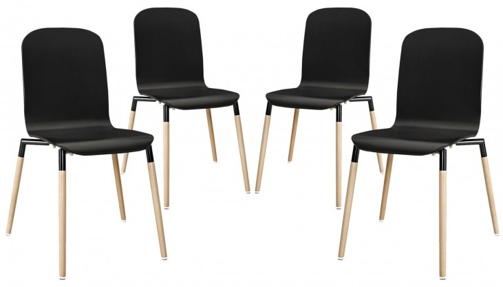 Stack Black Wood Dining Chairs Set of 4