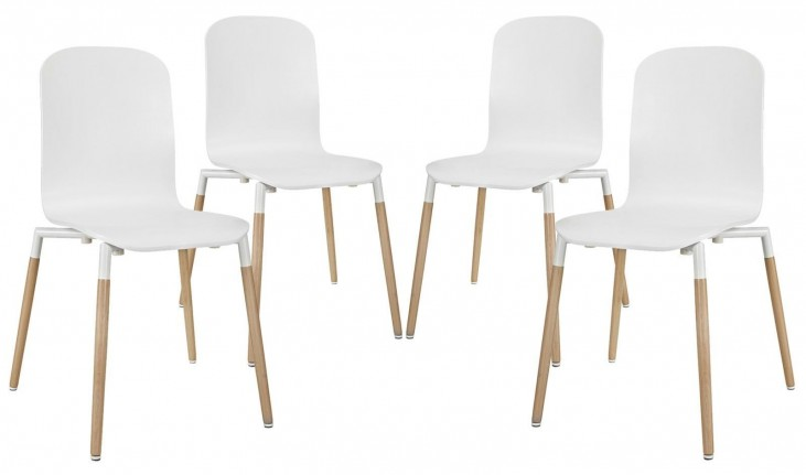 Stack White Wood Dining Chairs Set of 4