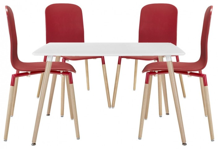 Stack Red Wood Dining Chairs and Table Set of 5