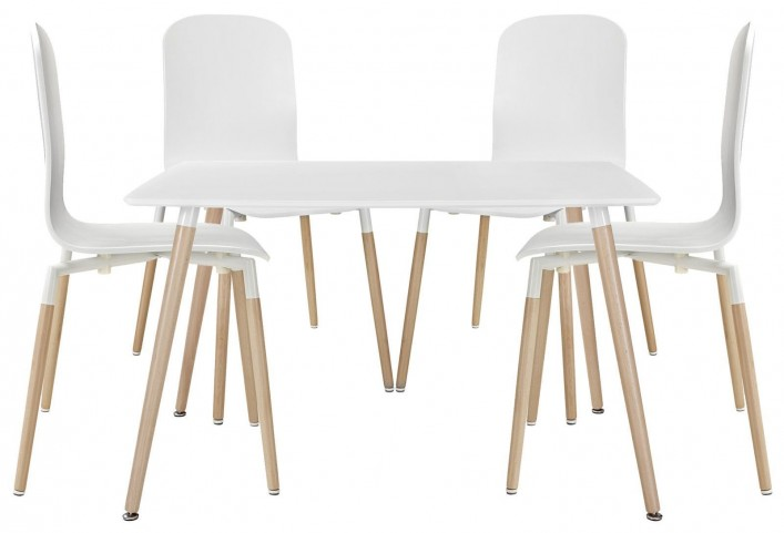 Stack White Wood Dining Chairs and Table Set of 5