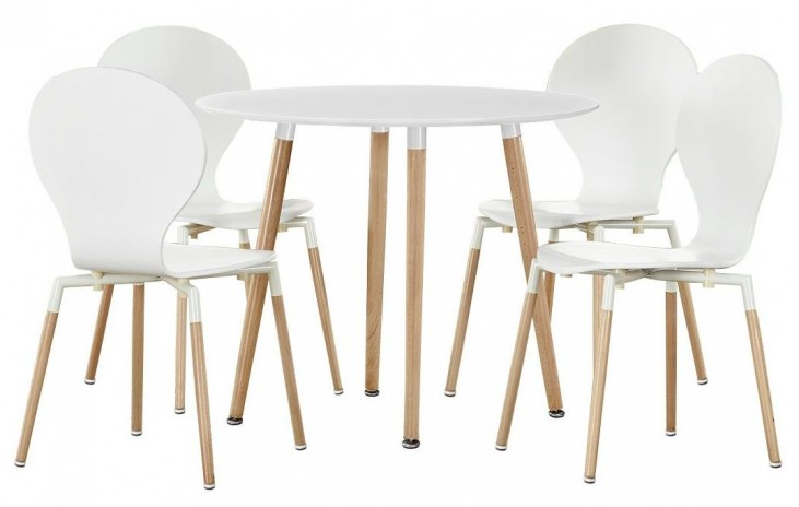 Path White Dining Chairs and Circular Table Set of 5