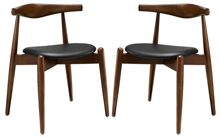 Stalwart Dark Walnut Black Dining Side Chairs Set of 2