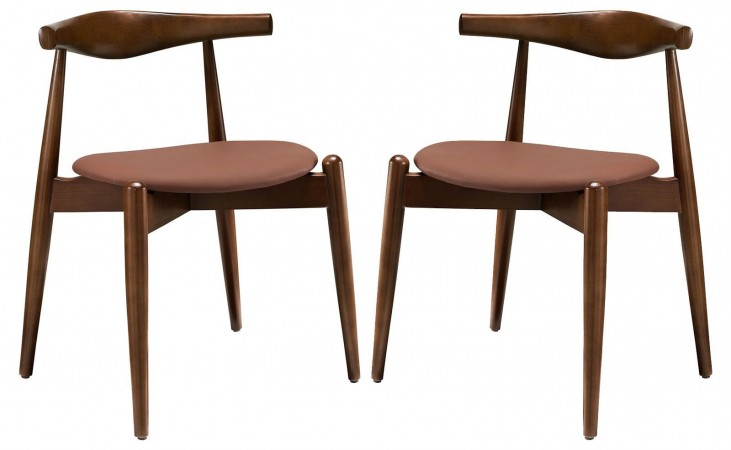 Stalwart Dark Walnut Tan Dining Side Chairs Set of 2