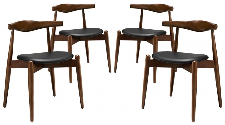 Stalwart Dark Walnut Black Dining Side Chairs Set of 4