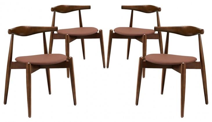 Stalwart Dark Walnut Tan Dining Side Chairs Set of 4
