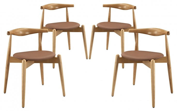Stalwart Natural Tan Dining Side Chairs Set of 4