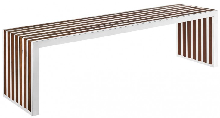 Gridiron Walnut Large Wood Bench