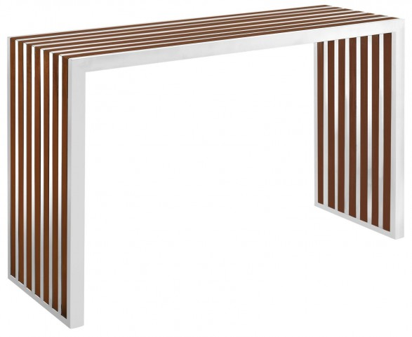 Gridiron Walnut Wood Inlay Console Table