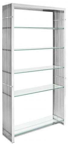 Gridiron Silver Stainless Steel Bookshelf