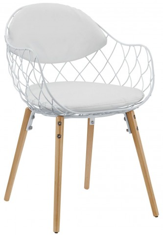 Basket White Dining Metal Armchair