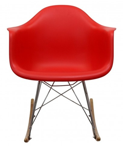 Plastic Molded Rocking Chair in Red