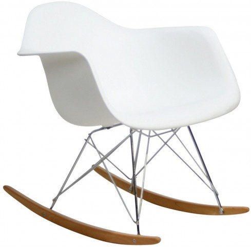 Plastic Molded Rocking Chair in White