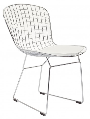 CAD Wire Side Chair in Silver Frame with White Cushion