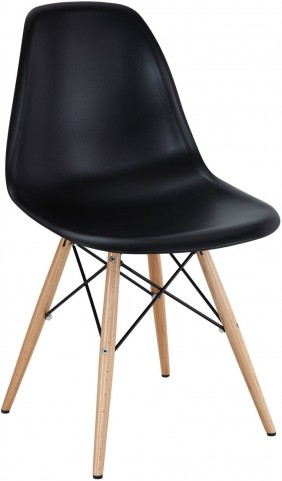 Wood Pyramid Side Chair in Black