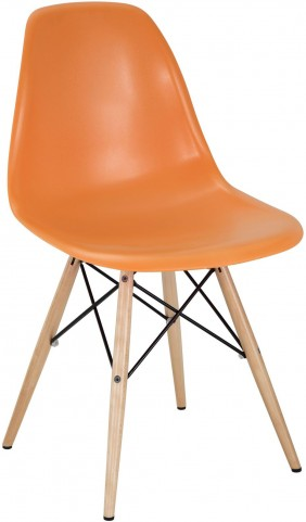 Wood Pyramid Side Chair in Orange