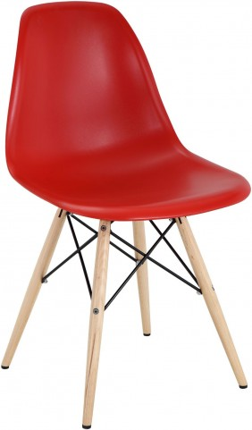 Wood Pyramid Side Chair in Red