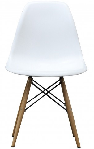 Wood Pyramid Side Chair in White