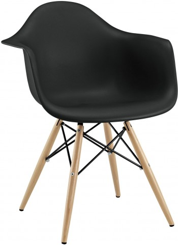 Wood Pyramid Armchair in Black