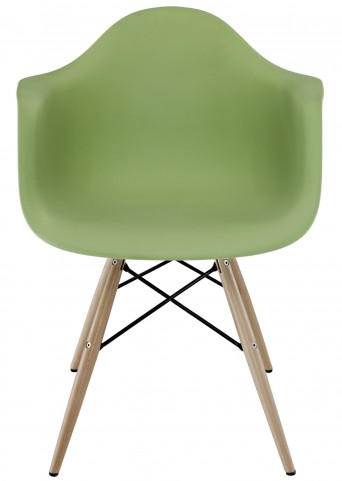 Wood Pyramid Armchair in Green