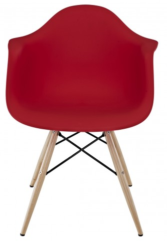 Wood Pyramid Armchair in Red