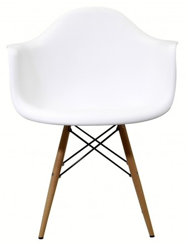 Wood Pyramid Armchair in White