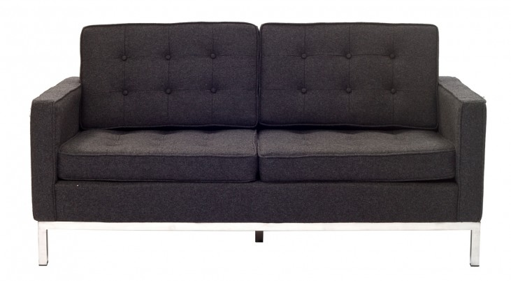 Loft Loveseat in Dark Gray Wool