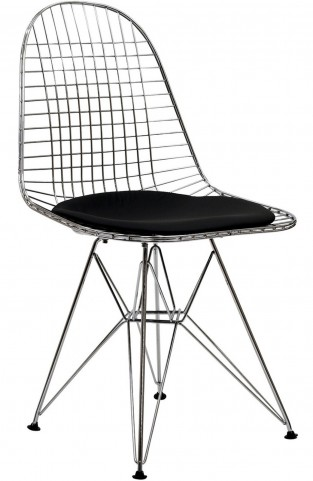 Wire Tower Side Chair with Black Vinyl Cushion