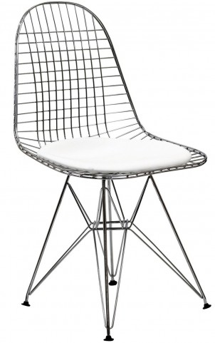 Wire Tower Side Chair with White Vinyl Cushion