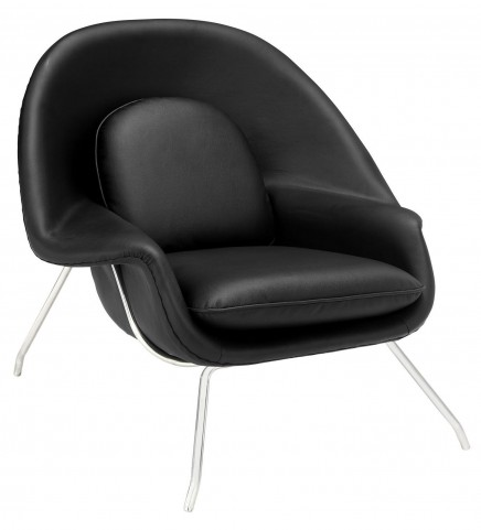 Black W Leather Lounge Chair