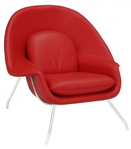 Red W Leather Lounge Chair