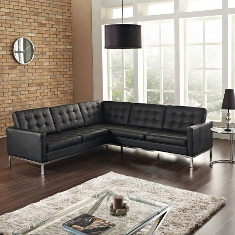 Loft Black L-Shaped Leather Sectional Sofa