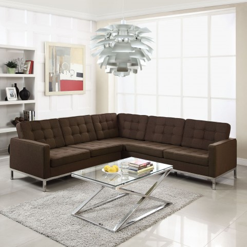 Loft Chocolate L-Shaped Wool Sectional Sofa