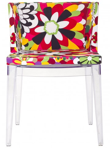 Flower Design Accent Chair with Clear Acrylic Base