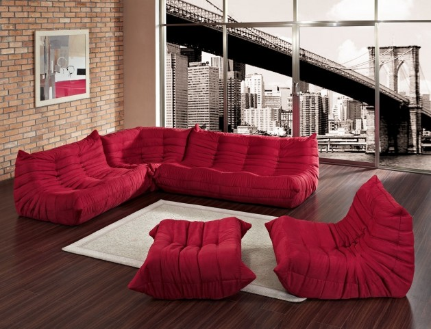 Waverunner Modular Sectional Sofa Set in Red (5 pieces)