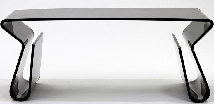 Acrylic Rectangle Coffee Table with Magazine Holder in Black