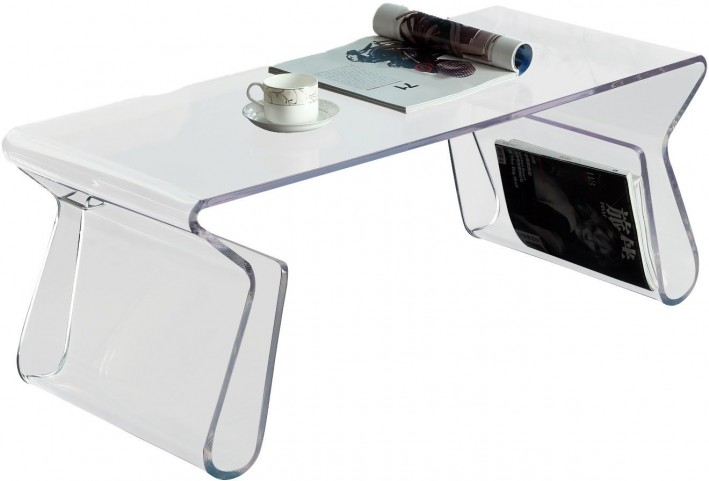 Acrylic Rectangle Coffee Table with Magazine Holder in Clear