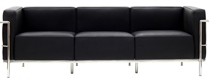 Le Corbusier LC3 Sofa in Genuine Black Leather