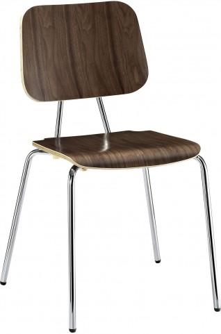 Plywood 4 Metal Leg Dining Chair in Walnut