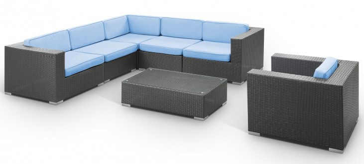 Corona Outdoor Rattan 7 Piece Set in Espresso with Light Blue Cushions